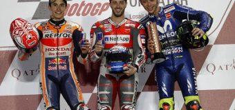 Dovizioso, Márquez, Rossi, así fue el podio en Qatar
