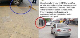 Escándalo por inspectora de tránsito que no atiende una falta por culpa del celular